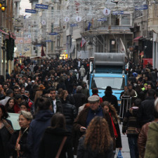 Busy Istiklal shopping street in the daytime