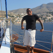 Pulling up to Symi, Greece on the Turkish Gulet cruise